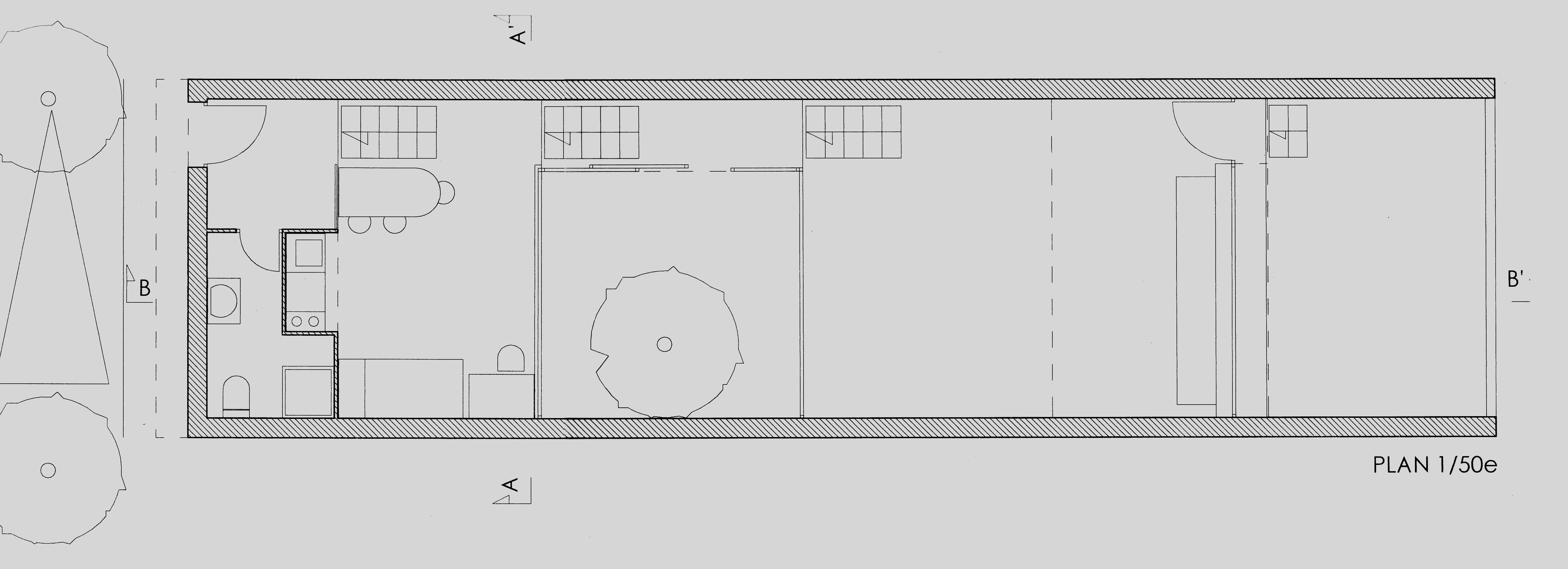 plan maison facade 6m